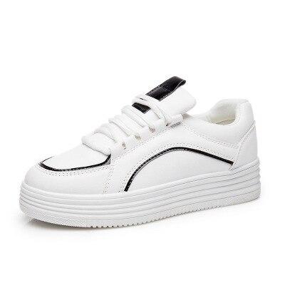 2017 Nuevos Estudiantes Zapatos Blancos Respirables con cordones Zapatos de Plataforma Sapatilha Feminina Damas Schoenen Zapatillas Deportivas Mujer
