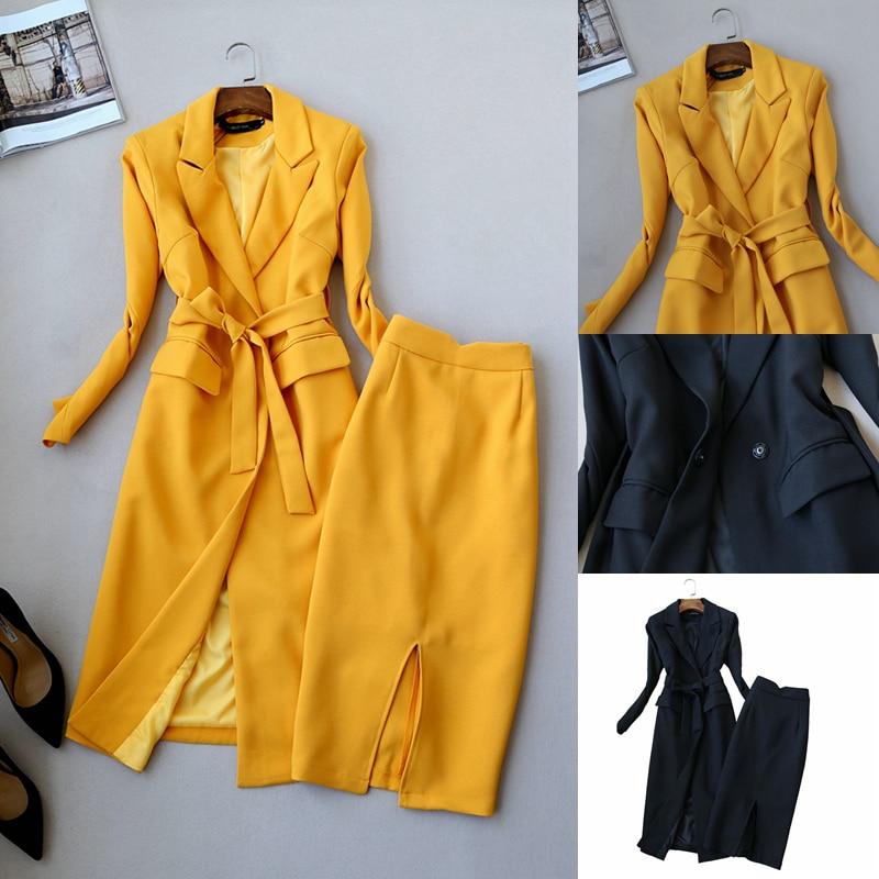 Fashion Ladies Suit Autumn New Korean Slim Long Suit Windbreaker Wild OL Professional Women's Suit Two-piece Spring High Quality