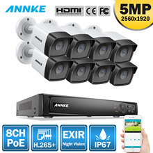 ANNKE 5MP H.265+ 8CH HD PoE Network Video Security System 8pcs Waterproof Outdoor POE IP Cameras Plug & Play Camera Kit