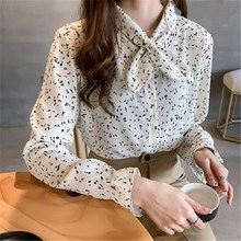 Plus Size Women Korean Floral Print Blouses 2019 Summer New Flare Long Sleeve Chiffon Shirts