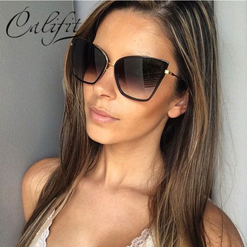 Sunglasses Women Vintage Cat Eye Black Shade Gradient Lens Oversized