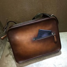 TERSE_Wholesale factory price leather shoulder bag for man patina 2 color handmade calfskin genuine leather messenger bag custom