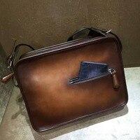 TERSE_Wholesale factory price leather shoulder bag for man patina 2 color handmade calfskin genuine leather messenger bag 322