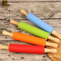 Silicon Dough Pastry Roller Stick Kitchen Cake Embossed Wooden Rolling Pins Handle Rodillos Texturizar Cooking Pin LKG066