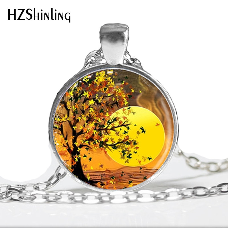 1pc Autumn Necklace,Sunset Glass Dome Art Pendant,Orange Glass Cabochon Tree Necklace HZ1