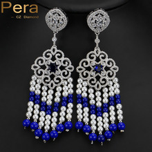 2016 Diseño de Lujo Africano Mujeres Grandes Cuelgan Artesanía Natural de Perlas Largo Goteo Pendientes de La Joyería Con Piedra Azul Zafiro E144