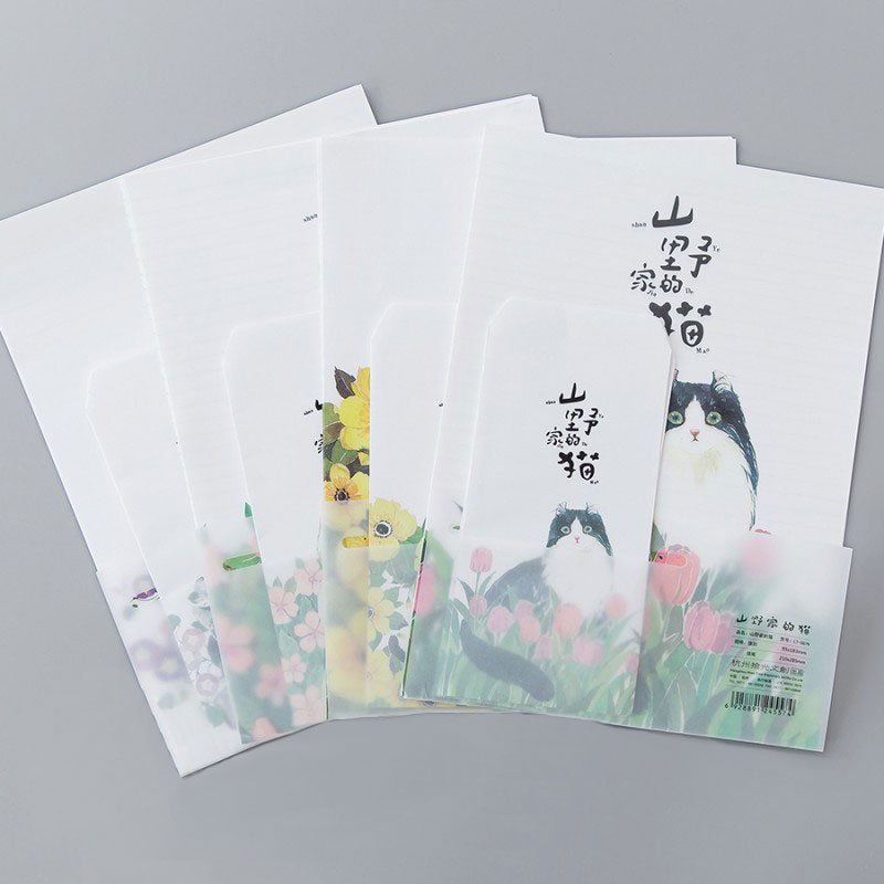 Flowers Cat  24 Sheet Letter Paper+12 Pcs Envelopes Watercolor Letter Pad Set Writing Paper Office&School Supplies