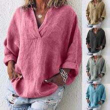 Plus Size Women Oversize Cross V Neck Shirt Tops Ethnic Solid Blouse Jumper Tops
