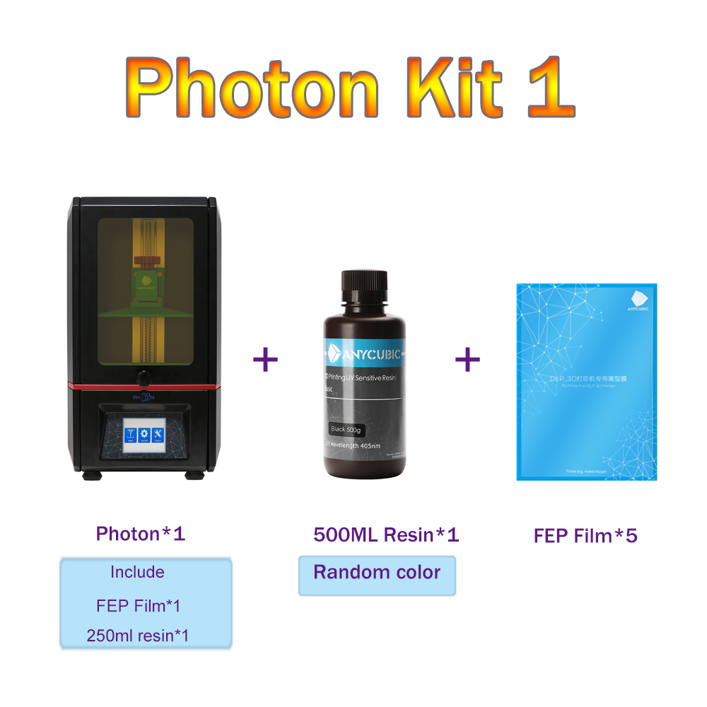 US $372 0 25% OFF|ANYCUBIC Photon 3D Printer Kit with 500ml/1L Resin UV  Ultimate Slice Speed LCD Touch Screen SLA Desktop 3d Printer DIY Kit -in 3D