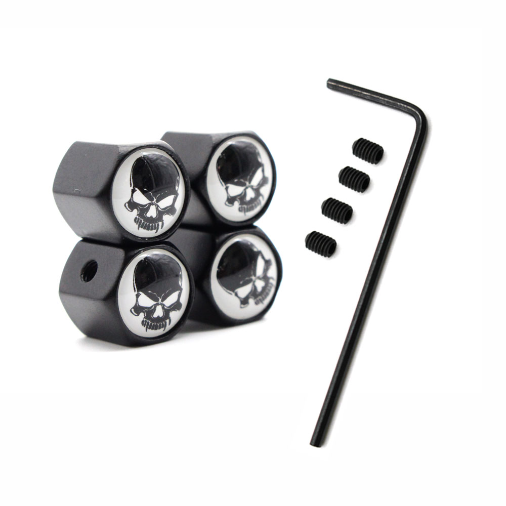 1Set Car Styling Zinc Alloy Anti-theft Skull Style Car Tire Valve Caps Wheel Tires Tire Stem Air Cap Airtight Covers