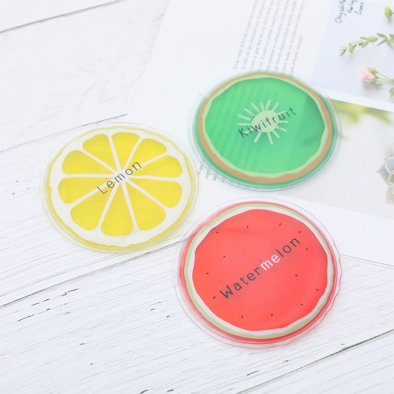 Portable Small Ice Packs Round Cute Fruit Pattern Cool Cold Bags Random Color Cooling Ice Pack