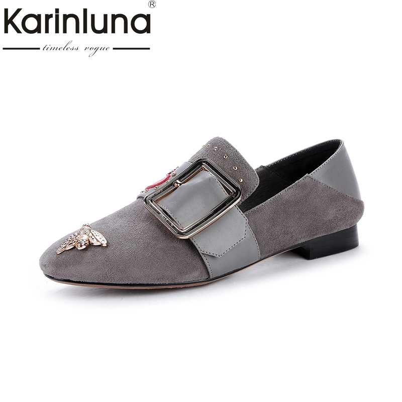 KARINLUNA Fashion Large Size 33-40 Cow Leather Kid Suede Buckle Women Shoes Woman Leisure Slip On Flats Loafers Shoes Women ribetrini summer large size 34 40 cow genuine leather woman shoes mix color leisure flats women shoes sneakers