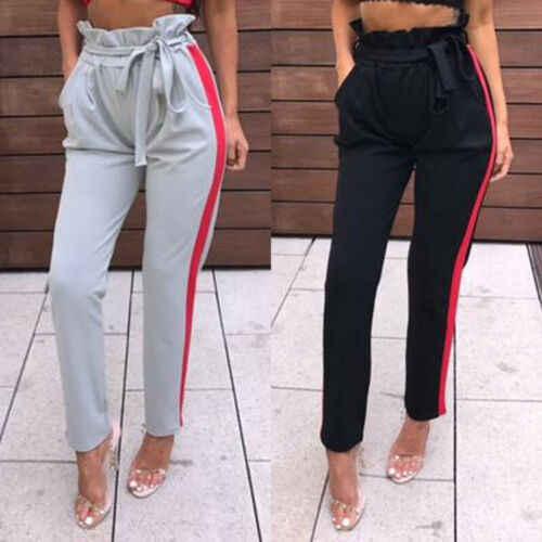 Delle donne A Vita Alta Casual Con Coulisse Elastica Pantaloni Lunghi Delle Signore Della Matita