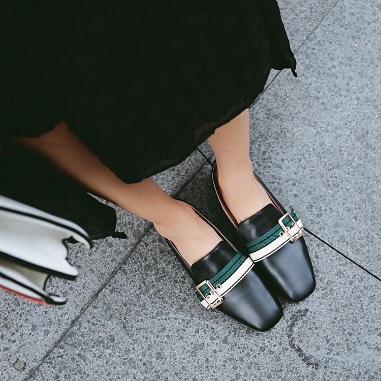 Lona Nueva De Goma Cuadrado Mujeres Chica Pie Negro Dedo Hebilla Casuales Sandalias Primavera Blanco Mujer Zapato Zapatos Cuero blanco Del Mocasines Tacones Chic Negro wpxadtF