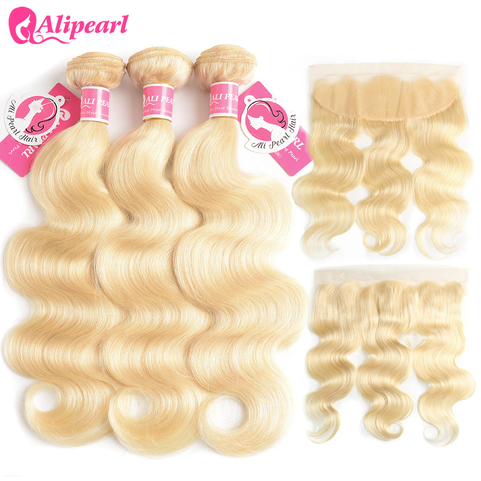 AliPearl Hair 613 Blonde Bundles With Frontal PRE Plucked Platinum Blonde Body Wave 3 Bundles Remy Hair image