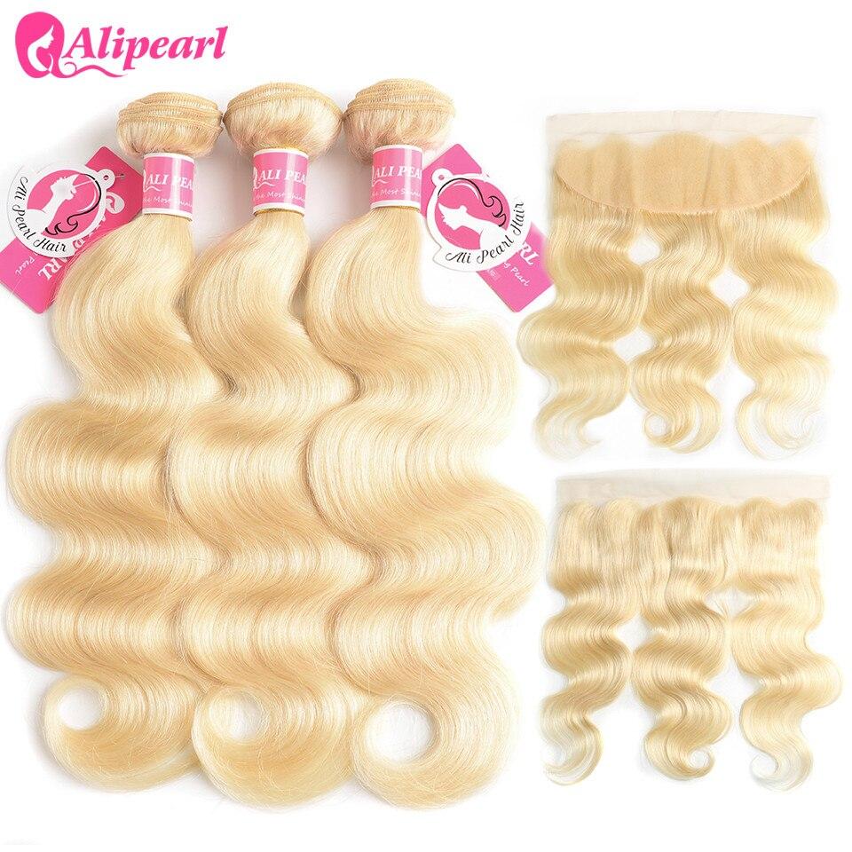 Alipearl Hair 613 Blonde Bundles With Frontal Pre Plucked Platinum Blonde Body Wave 3 Bundles Remy Hair Human Hair Weaves
