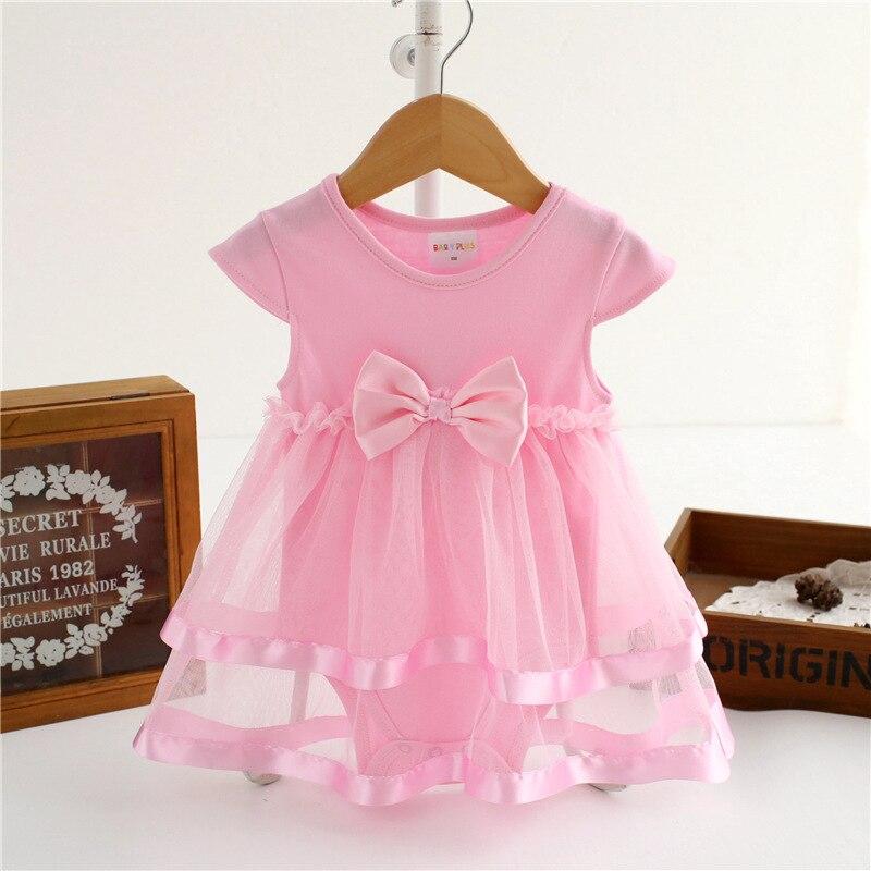 Newborn Baby Dresses Summer Cotton Ribbon Bow Infant Dresses For Girls Bodysuit Jumpsuit Toddler Body Suit Baby Clothes