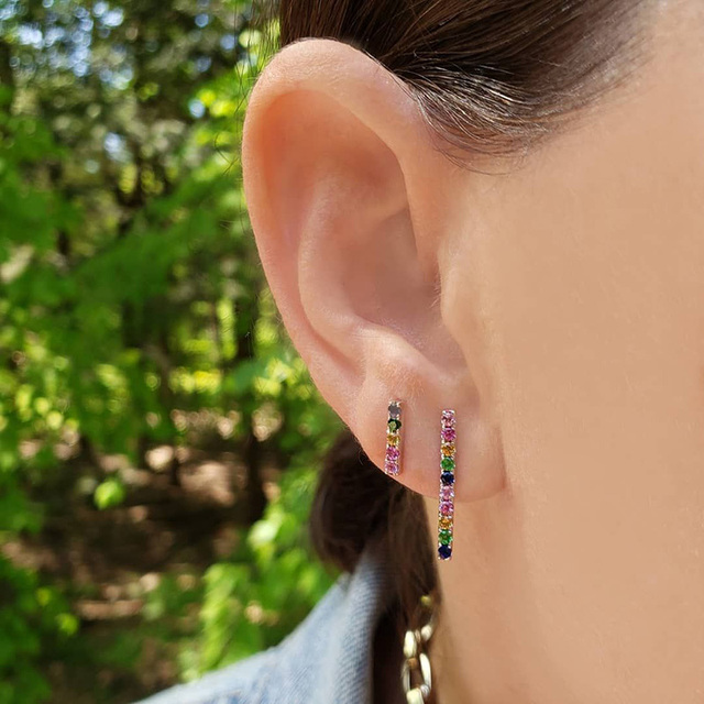 FLOLA Dainty CZ Rainbow Earrings Stud Woman Zirconia Tiny Rainbow Bar Earrings Pendientes Nina Rainbow Fashion.jpg 640x640 - FLOLA Dainty CZ Rainbow Earrings Stud Woman Zirconia Tiny Rainbow Bar Earrings Pendientes Nina Rainbow Fashion Jewelry ersq03