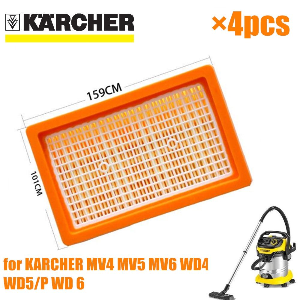4pcs KARCHER Filter For KARCHER MV4 MV5 MV6 WD4 WD5 WD6 Wet&dry Vacuum Cleaner Replacement Parts#2.863-005.0 Hepa Filters
