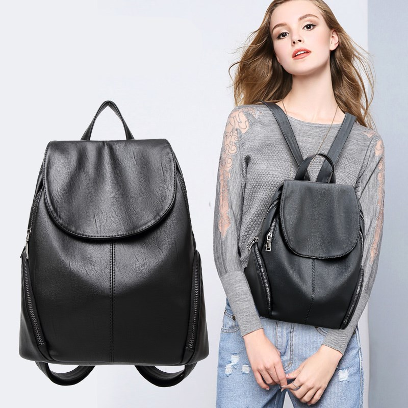 New Backpack Bag Korean Wild Leisure Soft Leather Travel Bag Korean College Wind Bag