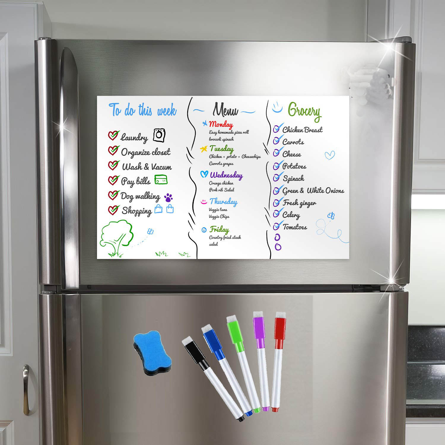 A3 Magnetic Erasable Whiteboard Markers Eraser Fridge Magnet Sticker Organizer Week Planner Reminder Board Notepad Sheet List