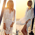 2016 Fashion  Maternity Women's Sweet Style White Lace Beach Dress Floral and Sleeveless  Dress for Pregnant Women
