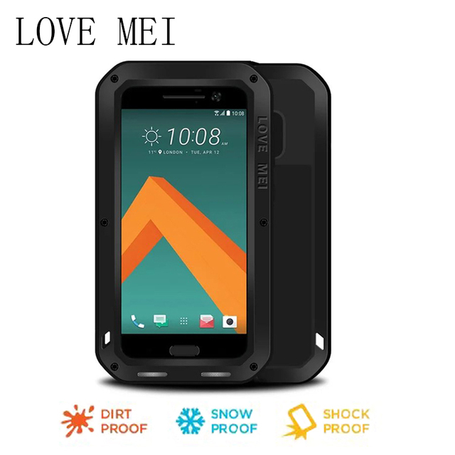 Love Mei For HTC 10 Waterproof Shockproof Gorilla Glass Metal Aluminum Case Cover For HTC M10 Three Proofing Cases