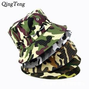 88f8be423ef QingTeng Bucket Hats Men Fisherman Hat Cotton Fishing Caps