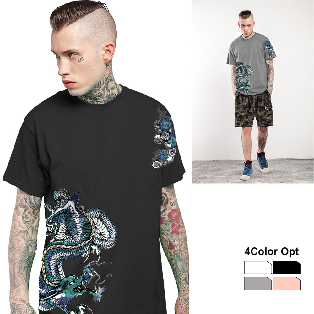 Men T Shirt Set Loose Skate Jogging Tee Short Sleeves Top Camouflage Pants Trousers Green Dragon Summer Wear Outdoor Suits