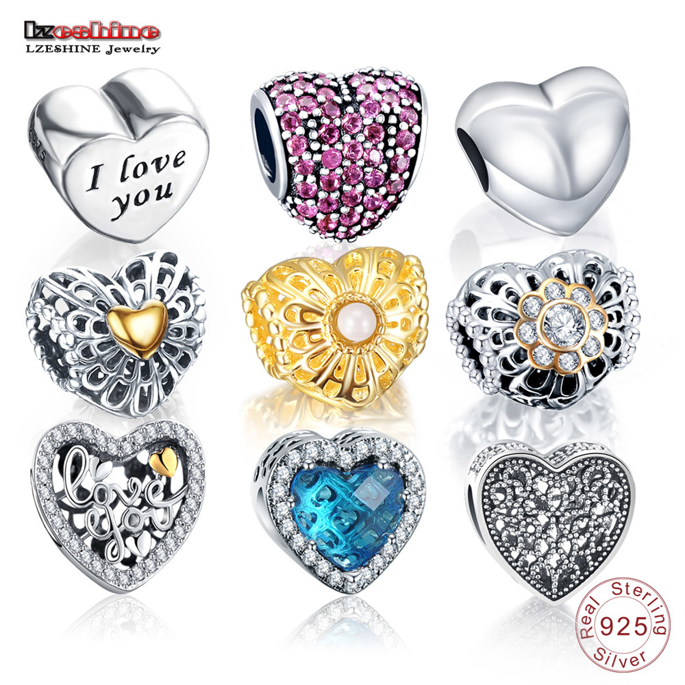 LZESHINE 100% Authentic 925 Sterling Silver Heart Shape Charm Beads Fit Original Pandora Charm Bracelet Silver Fashion Jewelry