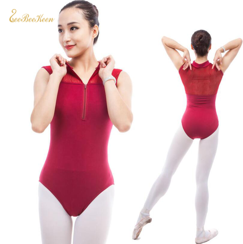 Semi Transparent Back Ballet Leotard For Women Stand Collar Zip Gymnastics Leotard Adult Ballet Dancewear Girls Ballet Costumes