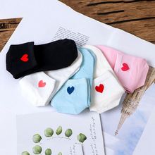Woman Socks 1 Pair New Red Heart Pattern Soft Breathable Cotton Socks Ankle-High Casual Comfy Fashion Style Streetwear Socks pair of stripe pattern cotton blend ankle socks