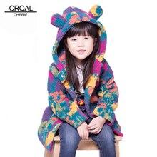 Abrigo de invierno para niñas y adolescentes abrigo polar de terciopelo cálido de 100 160cm, chaqueta de invierno colorida para niños, cortavientos de orejas