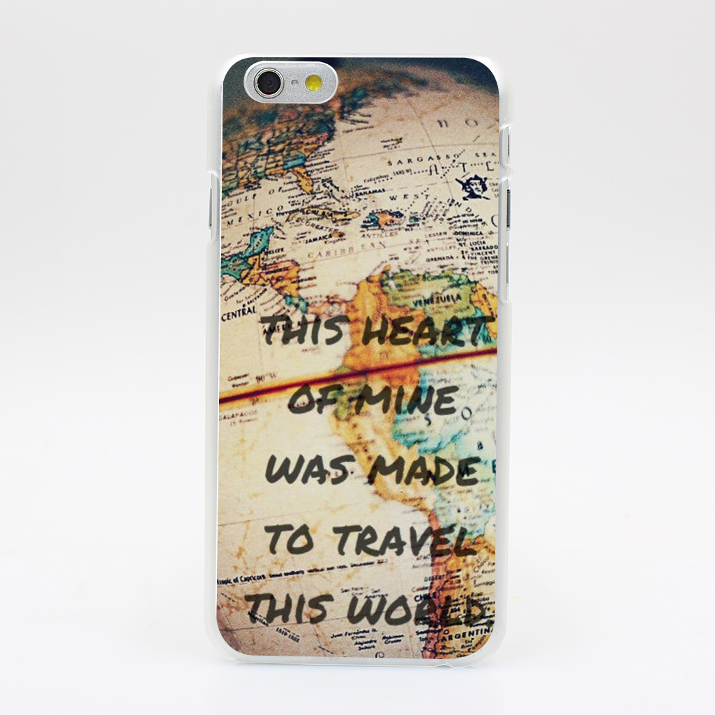612HK Vintage Retro World Map Heart of Mine Hard Case Transparent Cover for iPhone 4 4s 5 5s 5c SE 6 6s 7 & Plus