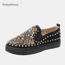 2019 designer shoes women luxury Gothic hip-hop style golden glitter studs embellished flat unisex slip on black casual loafers