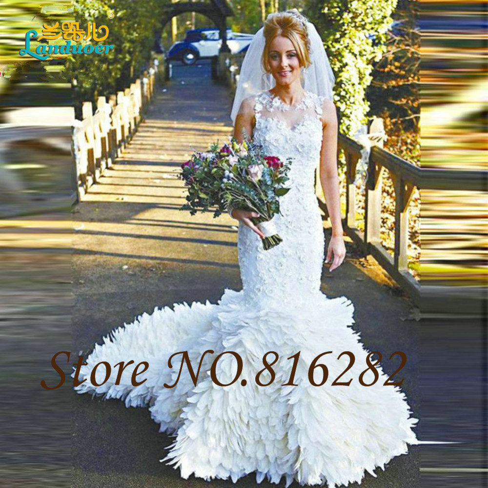 Hot Sale Custom Made Fashion Feathers Mermaid Wedding Dresses 2016 ...