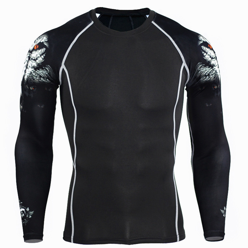 Mens Fashion 3D Teen Wolf T Shirts MMA Fitness Long Sleeve Palace Compression Shirt Bodybuilding Crossfit Brand Clothing T-shirt