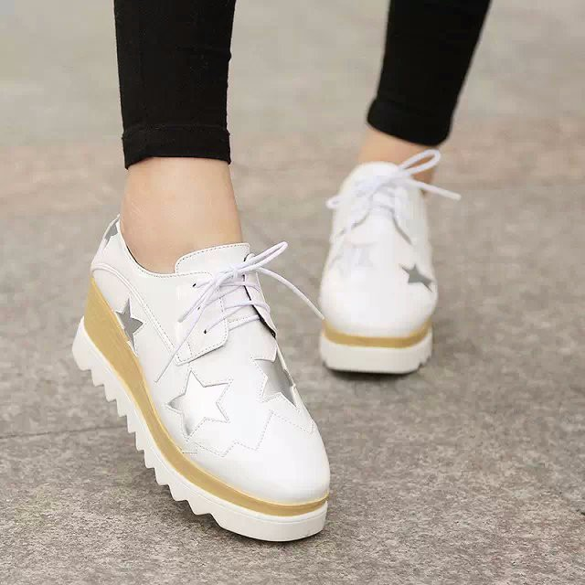 2015 Style Stars Vintage Womens Round Toe Patent Leather Flat Platform Oxford Lace up Derby Shoes Size 35-39 Brogue Shoes PX69 (7)