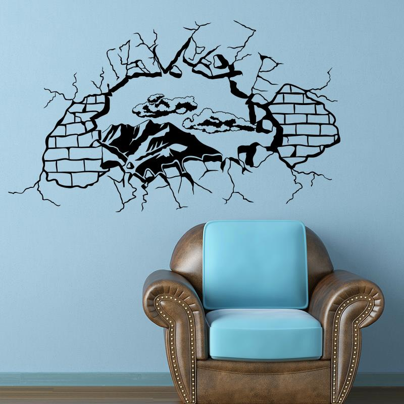 fenster mit aussicht wall sticker home decor vinyl decals new design house decoration broken. Black Bedroom Furniture Sets. Home Design Ideas