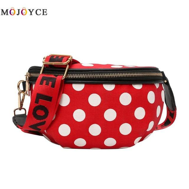 Casual Women Nylon Waist Bag Female Polka Dots Zipper Chest Fanny Pack Crossbody Belt Bag Pouch Heuptas Pochete