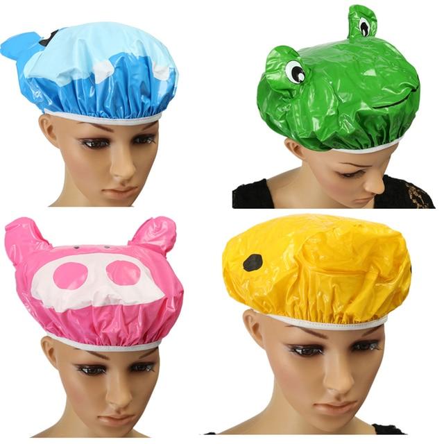 Xueqin 1 ADET Sevimli Karikatür Hayvan Tasarım PVC Elastik Spa Duş Başlığı Şapka Banyo Saç Kapak Alma Duş
