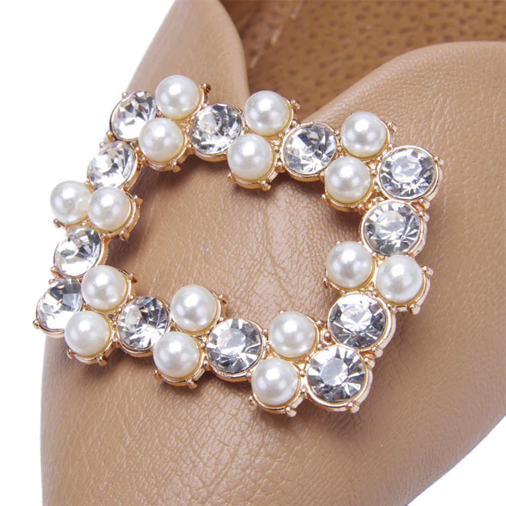 2Pcs/Set Shoe Clip DIY Shoes High Heel Sandals Decoration Luxury Rhinestone Pearl Simulation Jewelry Square Hollow Ornaments