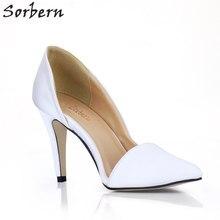 Sorbern seda blanco mujeres bombas Stilettos tacón alto encargo colores tacones  altos D Orsay zapatos Ol tacones bomba 9 cm gati. fb06a26d1667