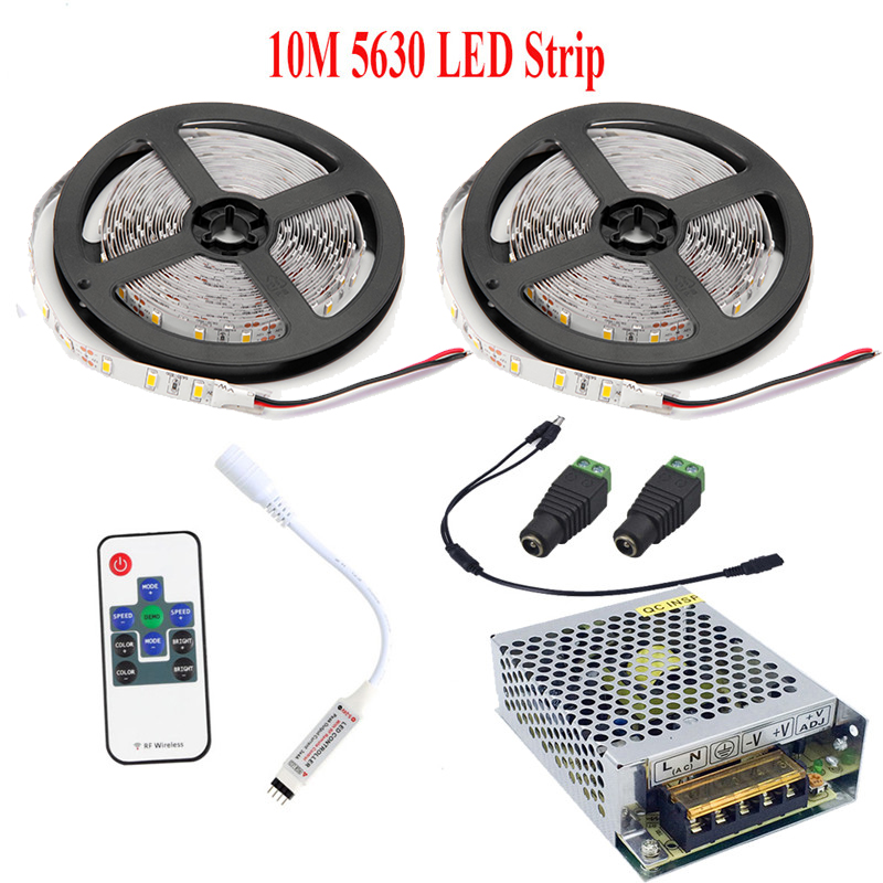 IP65 Waterproof 10M 5M LED Strip Light 5630 SMD DC12V 60Leds/M Bar Flexible LED Tape with 3A Adapter Warm White Cold White|LED Strips| |  - title=