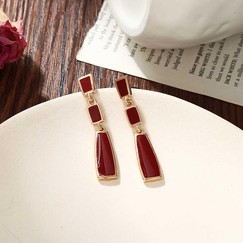 Koreański Trendy trapez kolczyki długie kolczyki moda biżuteria 2019 geometryczne kwadratowe spadek kolczyki dla kobiet Oorbellen