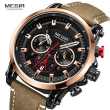 Reloj Megir de correa de cuero de ocio relojes de cuarzo para hombres 24 horas del cronógrafo 3atm impermeable ejército deportes reloj de pulsera, relojes 2085 rosa