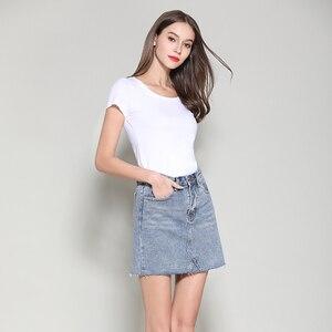Image 5 - Streetwear קו ינס חצאית אביב קיץ 2020 נשים חדש כחול שחור כיסים גבוהה מותן מיני ג ינס חצאית באיכות גבוהה חצאיות