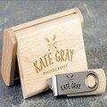 ODM OEM de Encargo de La Boda Fotografía Encord LOGO Clip De Madera + Caja de la Versión USB 2.0 de memoria flash stick pen drive (30 unids logo)
