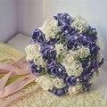 2017 Новые Дешевые Свадебные/Невесты Букет Темно-Фиолетовый Свадебные Ручной Работы Искусственный Цветок Розы Букет де mariage рамо де ла бода