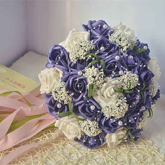2017 Nueva Barato de La Boda/la Dama de honor Púrpura Oscuro de Novia Hechos A Mano ramo de la Rosa Artificial Ramo De Flores de mariage boda